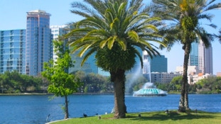 Lake Eola is an easy drive from your InnHouse vacation home in Orlando.